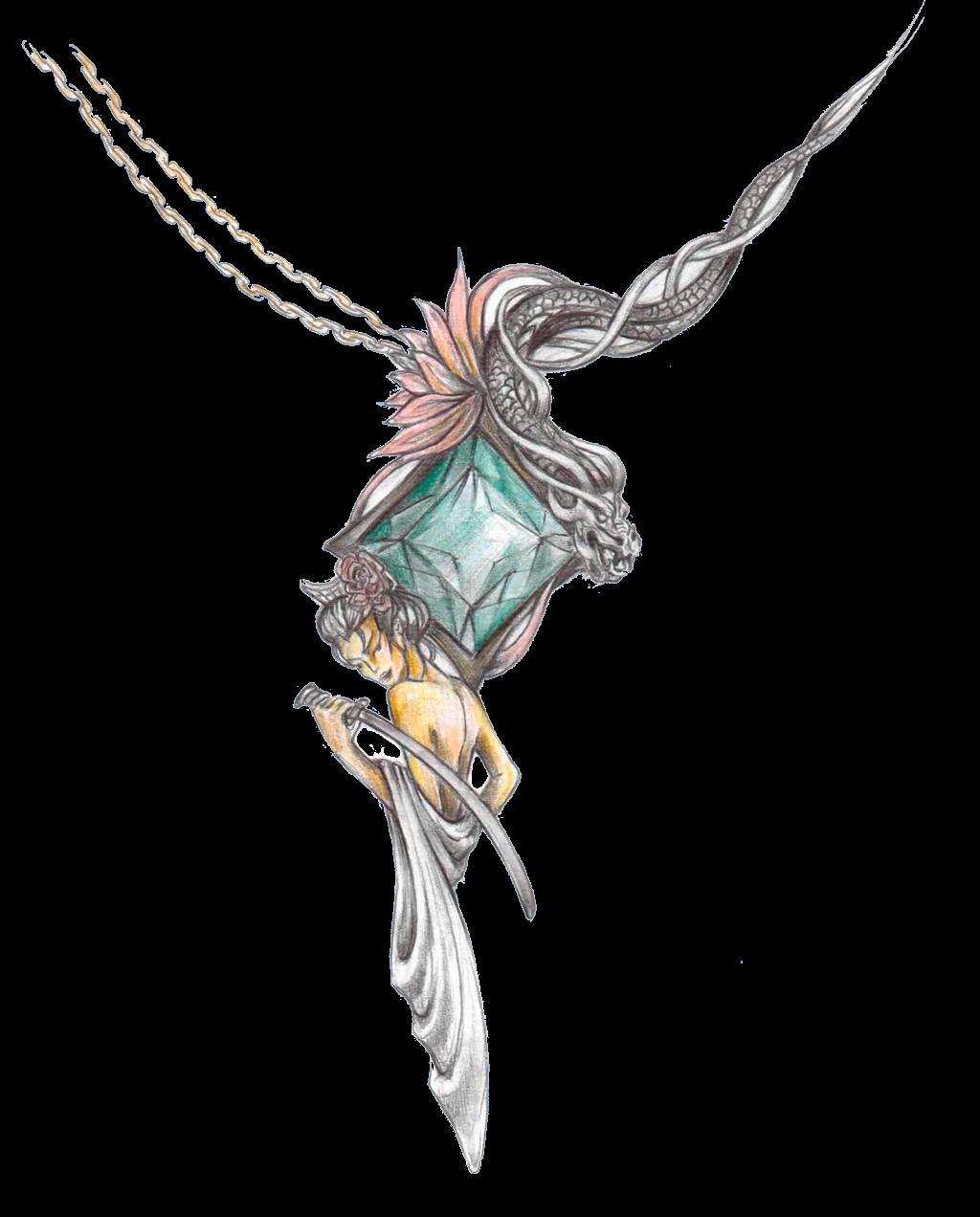 Girl with katana pendant